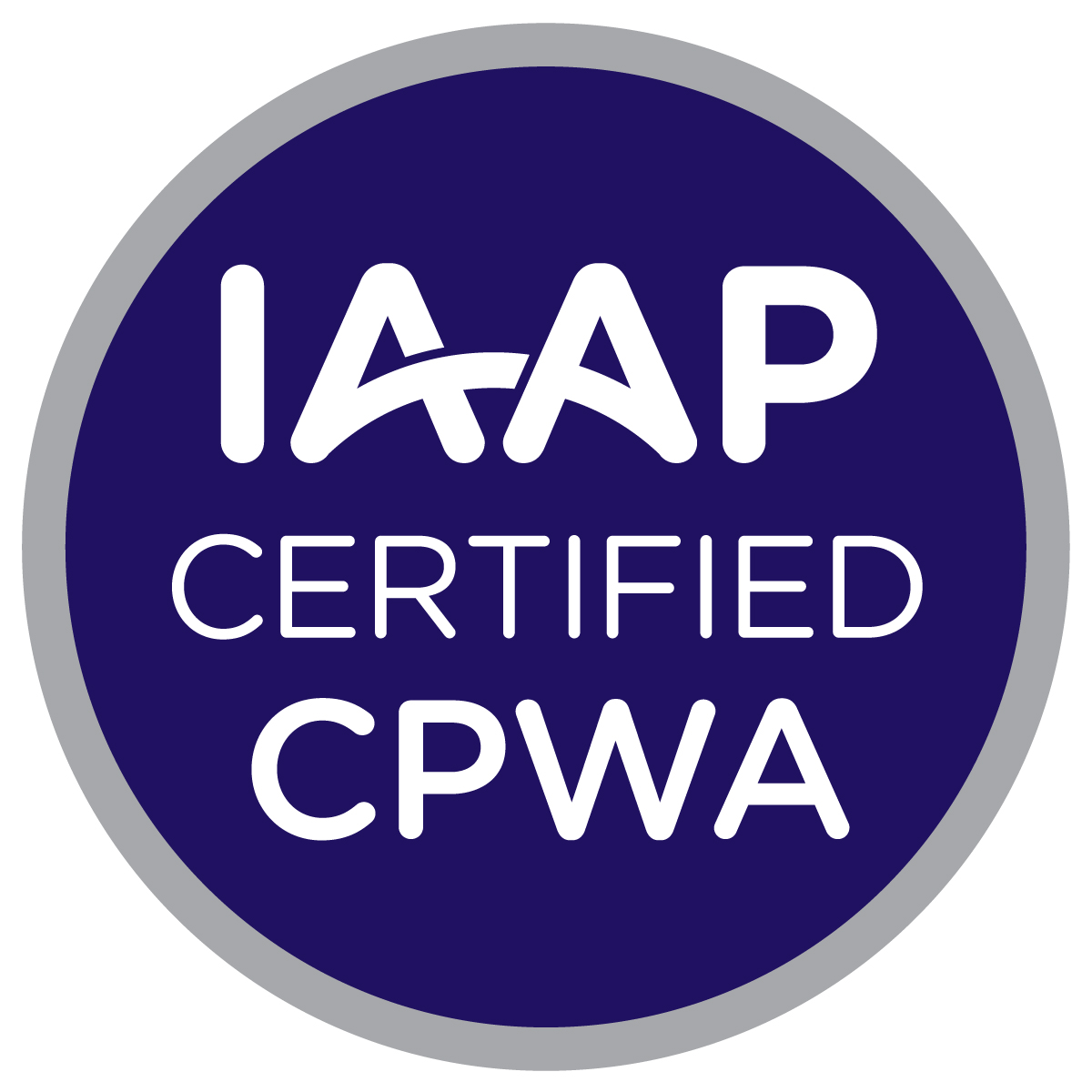 Circular badge logo for International Association of Accessibility Professionals (IAAP) Certified Professional in Web Accessibility Specialist (CPWA) credential. A dark blue circle with three lines of centered white text that read: IAAP Certified CPWA. There is a smaller silver circle that surrounds the dark blue inner circle that designates the CPWA credential color scheme.